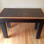 Cincinnati Reclaimed Barn Wood Furniture - Granite and Oak Pub Height Table