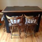 Cincinnati Reclaimed Barn Wood Furniture - Granite and Oak Pub Height Table
